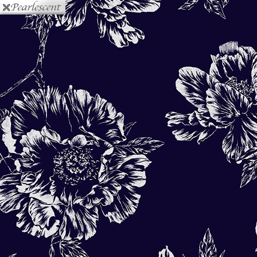 Violet Twilight - Pearl Shadow Flowers - Navy - 7922P-55
