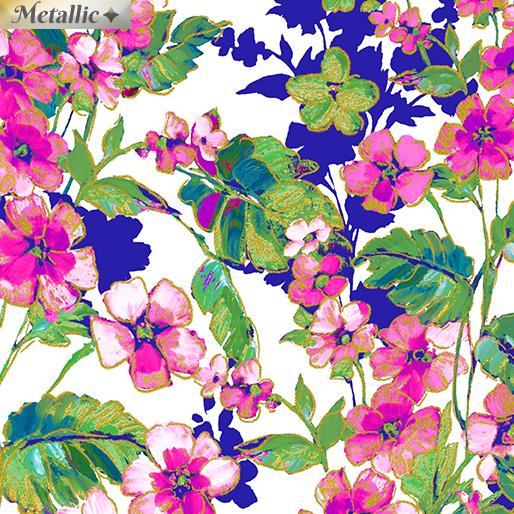 7945M 09 White Floral Dance Metallic Watercolor Wishes Kanvas Benartex