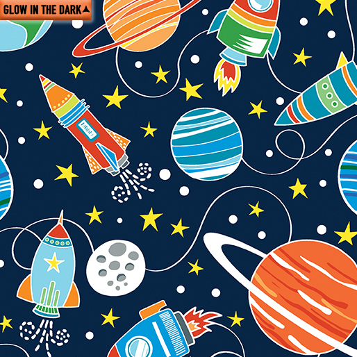 Intergalactic Planets Fabric - Cobalt All Systems Glow Collection from Kanvas Studio