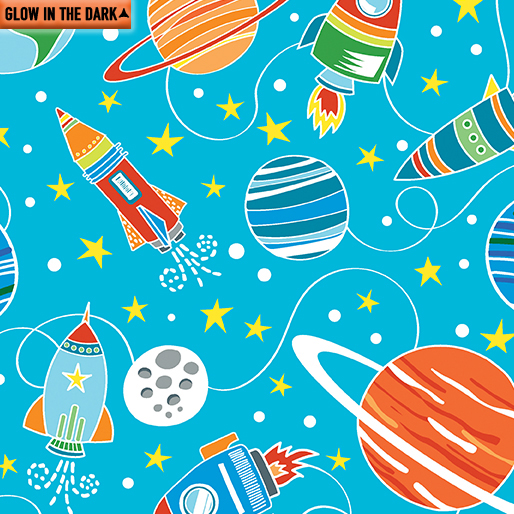 All Systems Glow - Intergalactic Planets, Sky Blue - by Kanvas Studio