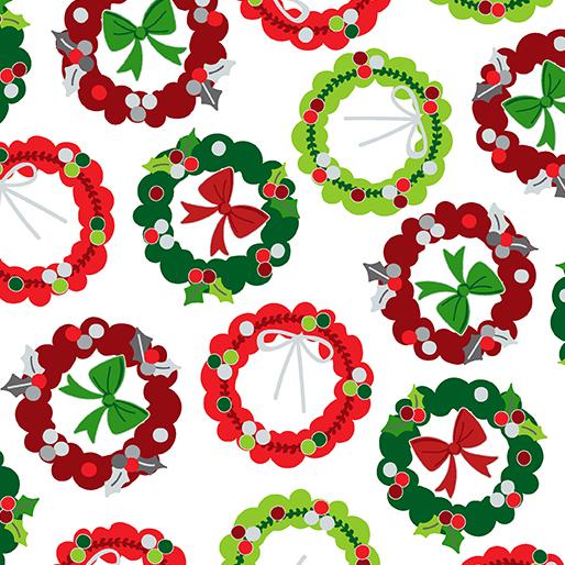 SPECIALTY FABRICS: Holiday Wreaths on White:  Camp Joy by Greta Lynn for Kanvas Studio in association with Benartex