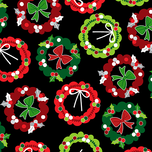 Camp Joy Holiday Wreaths Black