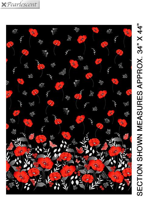 Poppy Promenade - Pearl Poppy Border - Black - 7979P-12