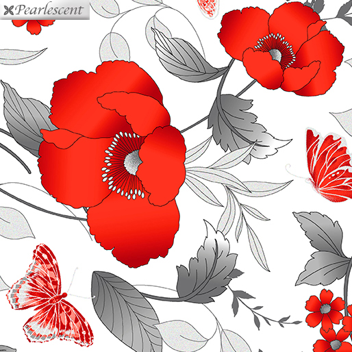 Poppy Promenade - Floral - White - 7980P-09