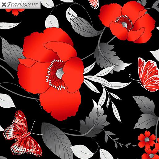 Poppy Promenade Floral Black
