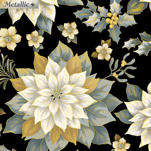 Treasured Poinsettia Blk/Gold