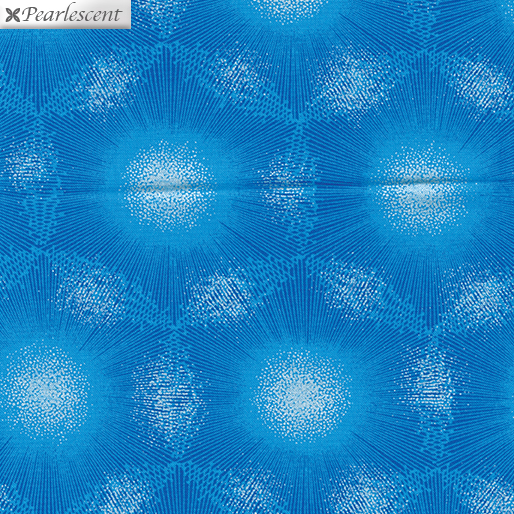 8460P-54 Dandelion Dots Peacock Blue Pearl Reflections