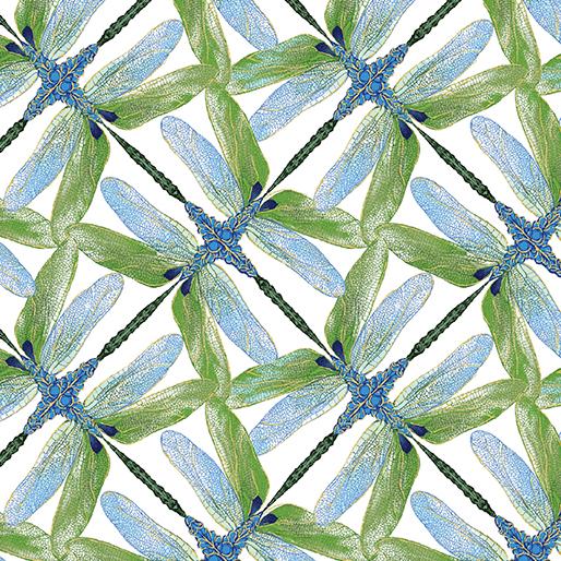 Pinwheel Geo White/Green Dragonflies