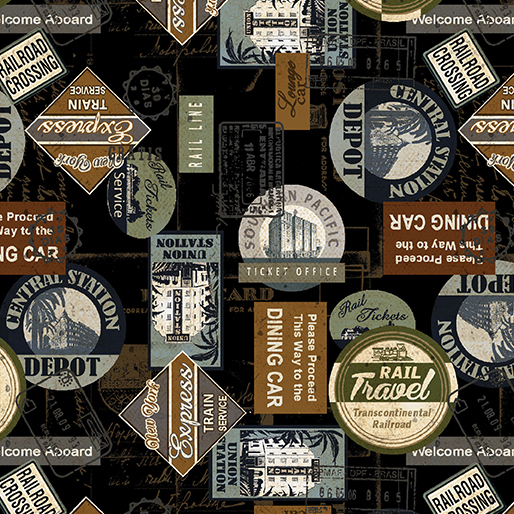Railway Express - Station Stamps Black