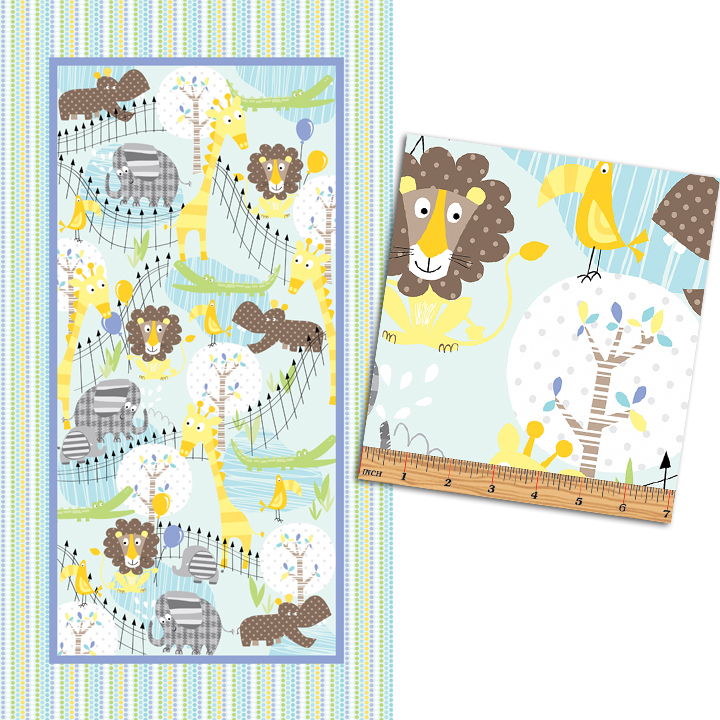 Zoo Baby - At The Zoo Flannel Panel  on Aqua by Benartex