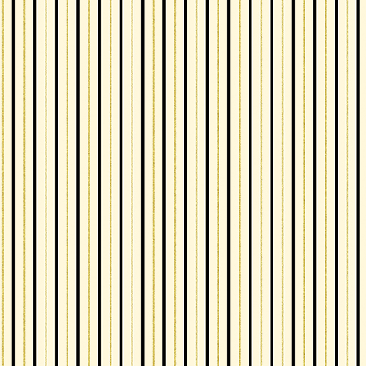 Black and Gold Stripes on Ivory:  New Traditions - Metallic Shirting Stripe by Maria Kalinowski for Kanvas Studio in association with Benartex