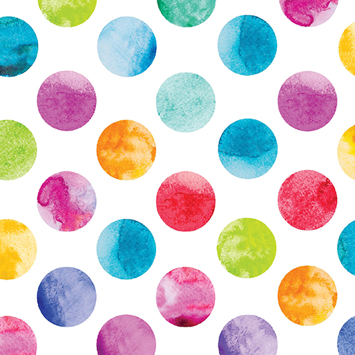 Watercolor Dots White