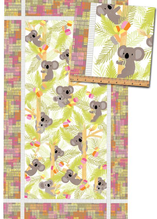 Koala Baby Panel Pink Lime - Flannel