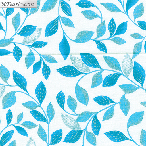 Shimmer Leaves White/Teal (Pearl Reflections)