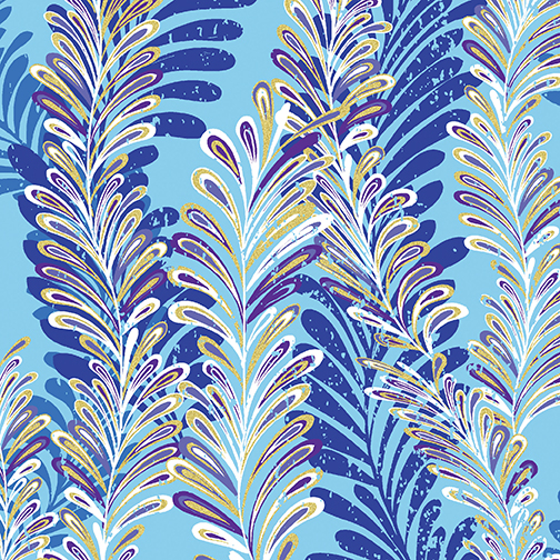 *Jeweled Ferns Aqua/Blue