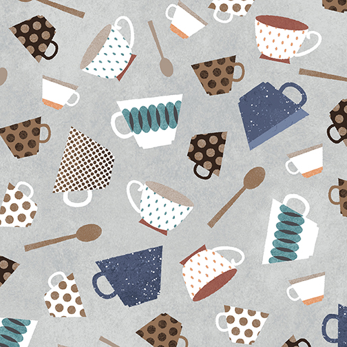 Cups & Spoons Dove Gray/Teal