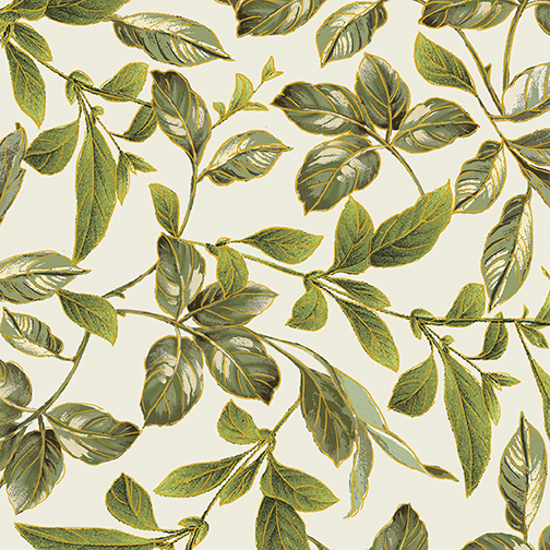 Botanical Leaves Cream/Green