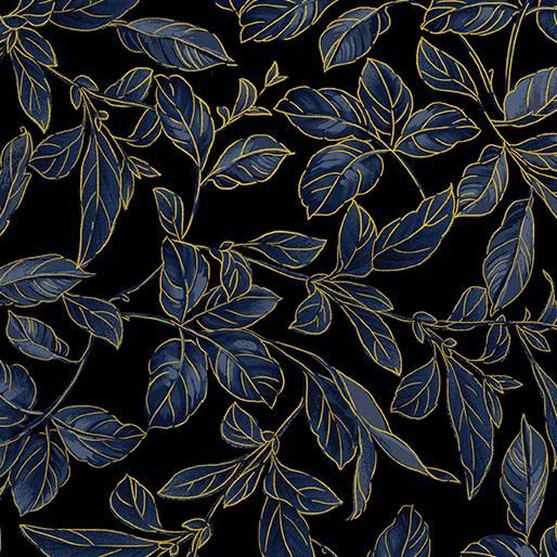 Benartex Kanvas Blue Symphony 8937M-52 Botanical Leaves Royal/Gold