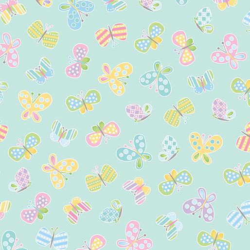 Spring Butterflies on Aqua: Some Bunny Loves You by Greta Lynn for Kanvas Studio in association with Benartex