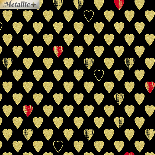 Cherish Texture Hearts Black 8964M-12