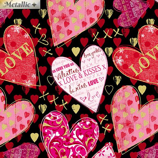 Cherish Hearts of Love Black 8965M-12