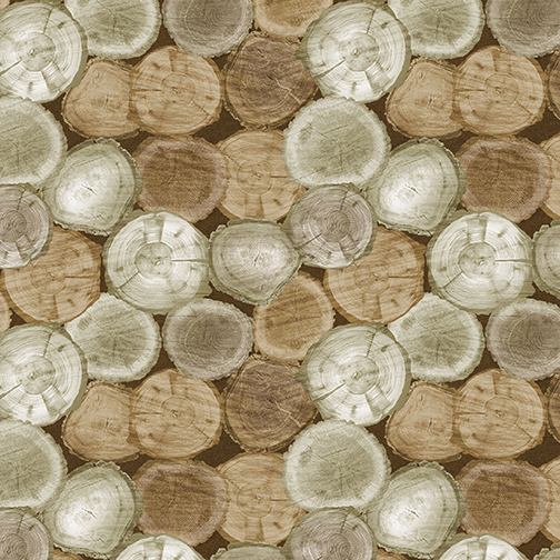 SPECIALTY FABRICS:  Light Oak Rustic Logs:  Nature Walk by Greta Lynn for Kanvas Studio in association with Benartex