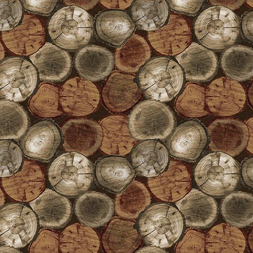 SPECIALTY FABRICS:  Chestnut Rustic Logs:  Nature Walk by Greta Lynn for Kanvas Studio in association with Benartex