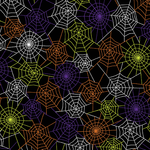 Benartex, Kanvas Studios, Glowing Webs Multi 8978GL