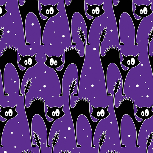 Benartex, Kanvas Studios, Scaredy Glow Cats Purple8984GL
