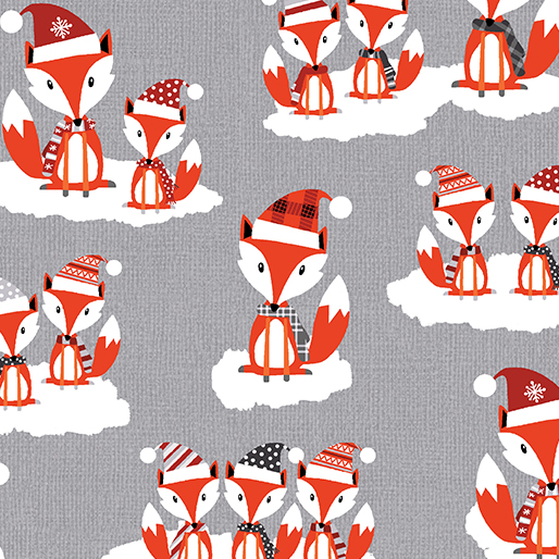 Benartex Noel Forest Foxy Friends Medium Gray