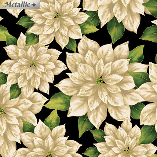Pretty Poinsettias White/Black