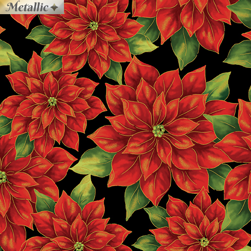 Pretty Poinsettias Red/Black