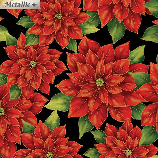Pretty Poinsettias Red/Black