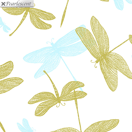 9706P-09 White Shimmery Dragonfly Shimmer & Shine Benartex