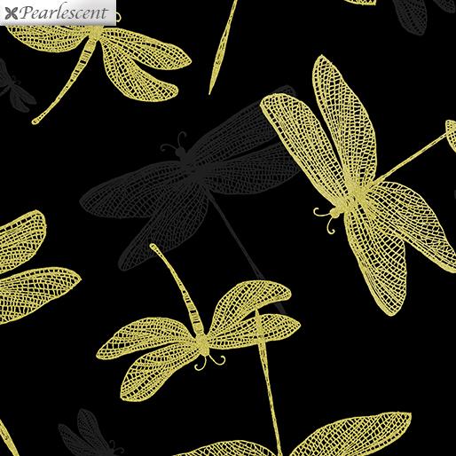 9706P-12 Black/Gold Shimmery Dragonfly Shimmer & Shine Benartex