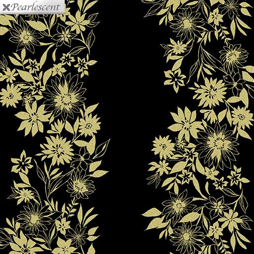 9707P-12 Black/Gold Shimmery Flower Stripe Shimmer & Shine Benartex