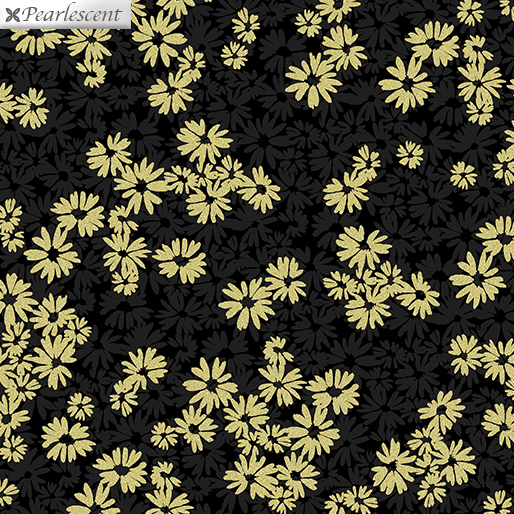 Shimmery Shadow Flower BlkGold