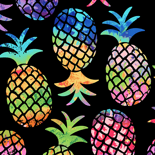 Tropical Breeze Pinapple Paradise Black 9715-12