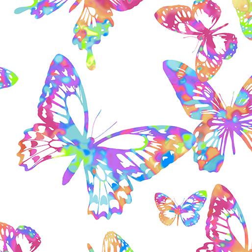 Tropical Aloha Butterflies White