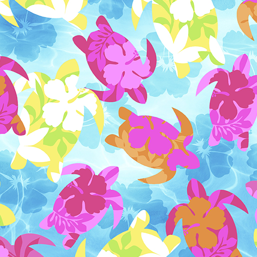 Tropical Breeze Aloha Turtles Turquoise 9719-84