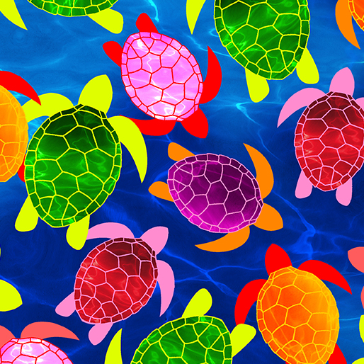 KAN- Watercolor Turtles Blue (Tropical Breeze)