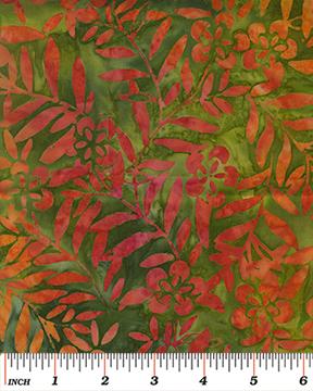 Benartex Tropical Nights Balis Wildflower Green/Orange
