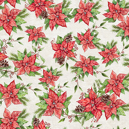 December Magic, Poinsettias, Ecru, 1047-41
