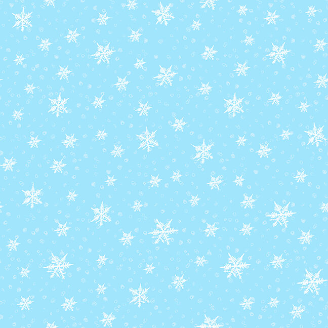 Fabric-Blank Gnoming Through the Snow Snowflakes on Blue