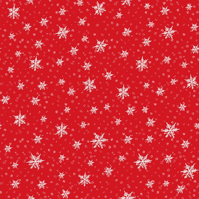 Gnoming Thru the Snow - Red/White Snowflakes