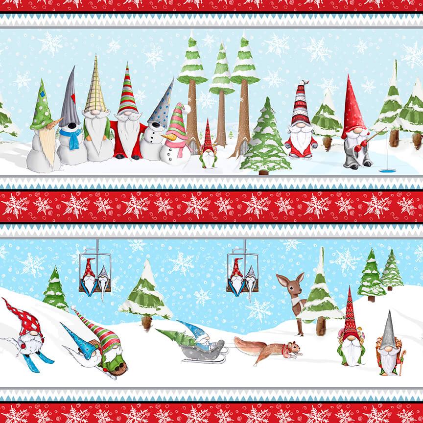 Fabric-Blank Gnoming Through the Snow Border Stripe