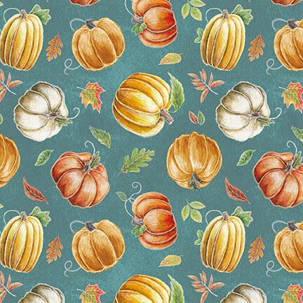 Fabric-Blank Rake & Bake Pumpkins on Teal