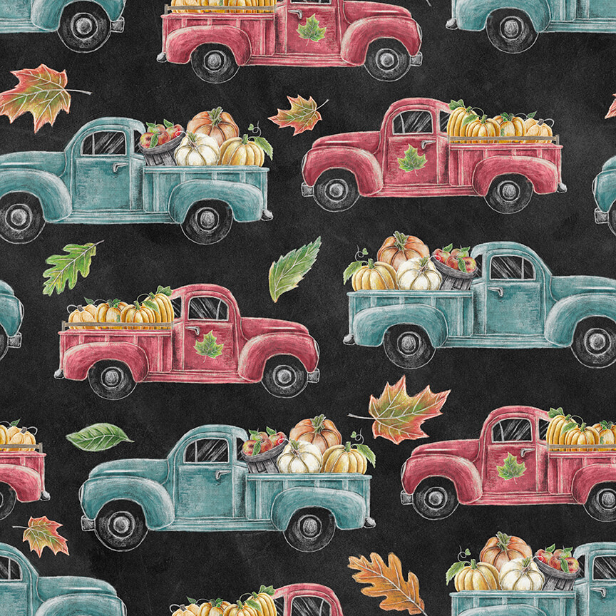 Rake & Bake - Trucks, Black - by Lily Ford for Blank Quilting