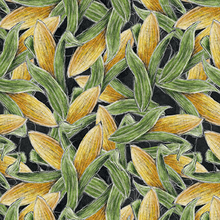 Rake & Bake - Corn, Black - by Lily Ford for Blank Quilting