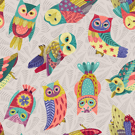 Owl Prowl- Tossed owls grey